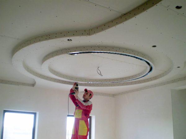 Как сделать гипсокартоновый потолок